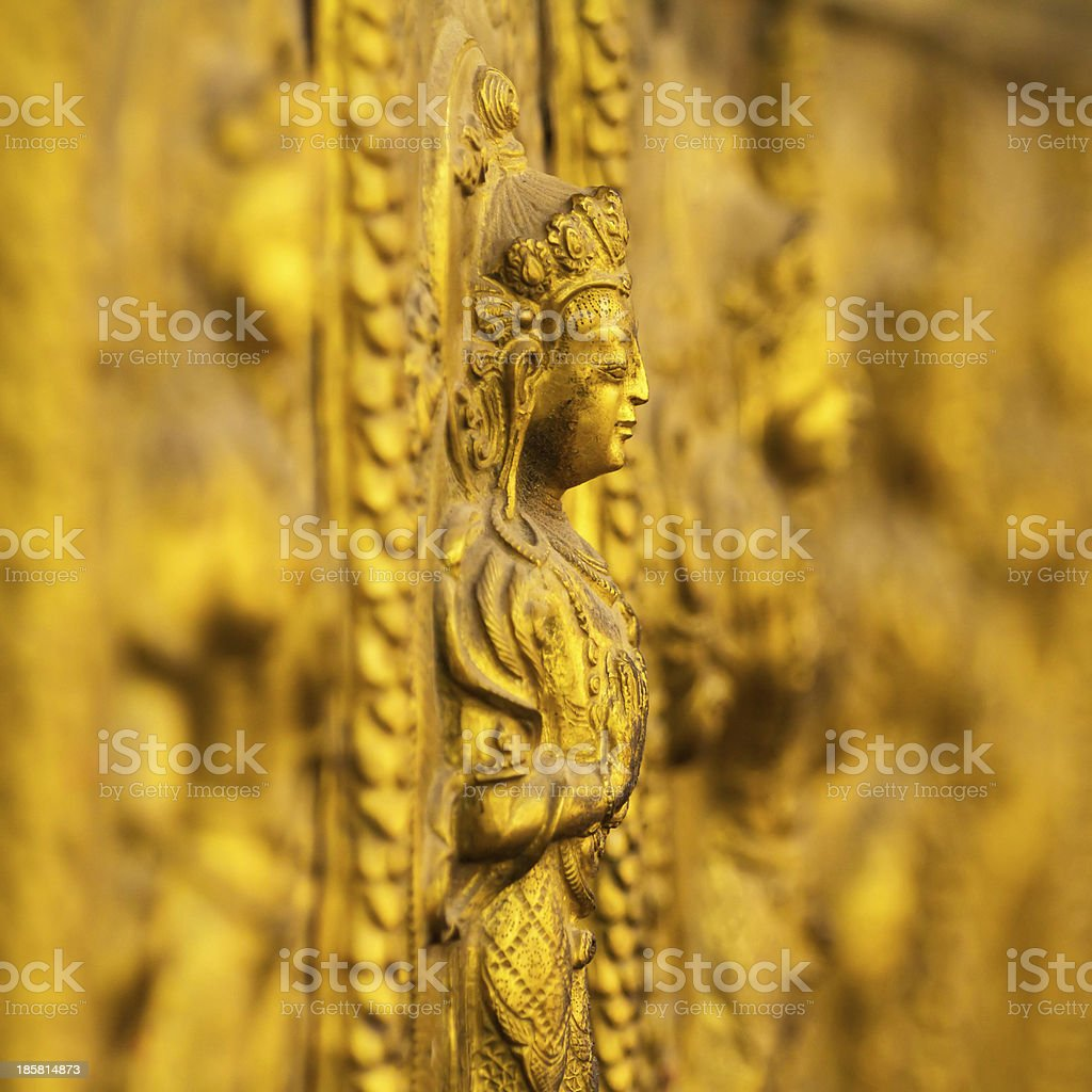 Beautiful metal figure of Saraswati stock photo