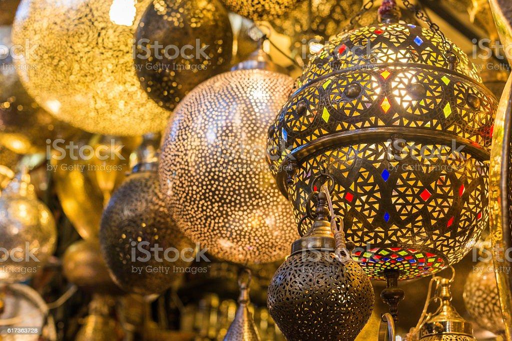 Beautiful Metal Moroccan Lanterns in Marrakesh, Africa stock photo