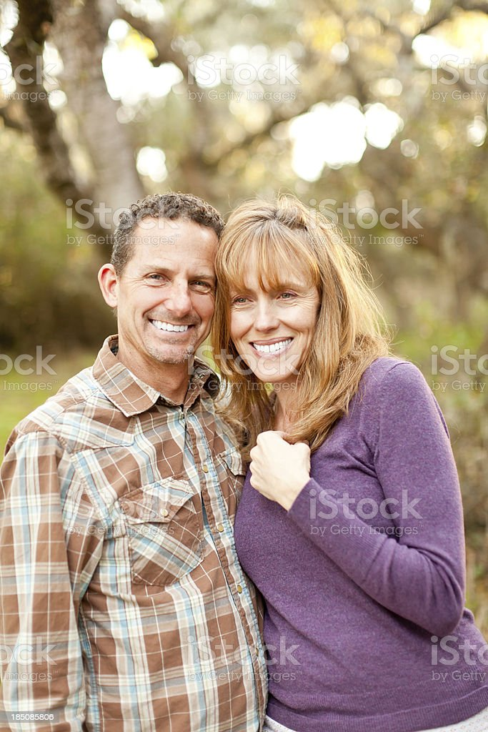 Beautiful Middle Age Affectionate Couple Portrait royalty-free stock photo