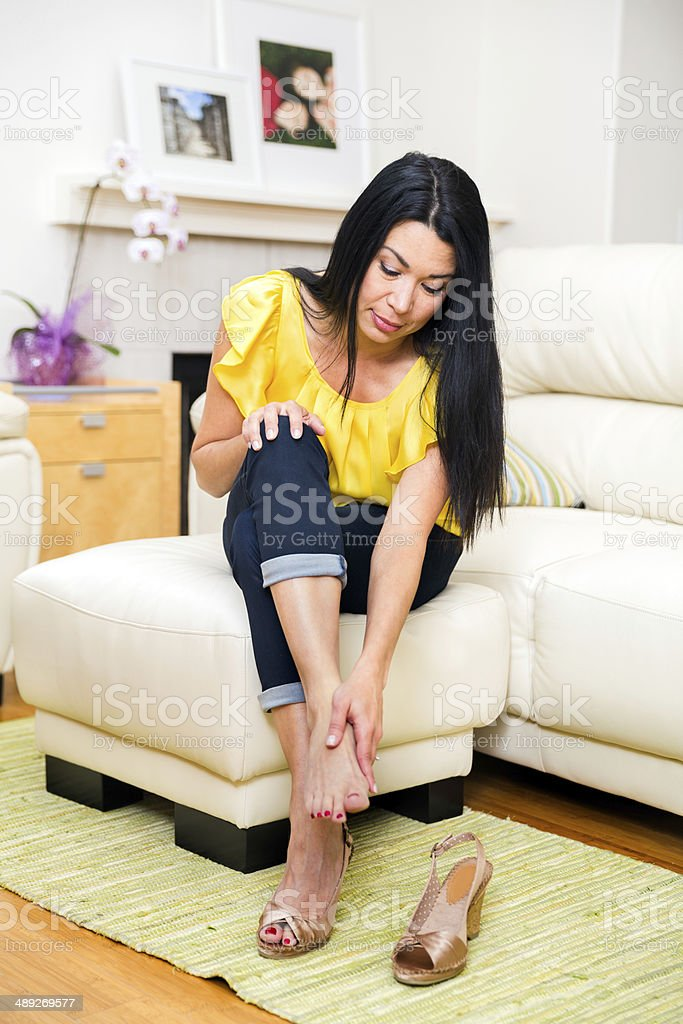 Beautiful Middle Age Woman in her 40s at home stock photo