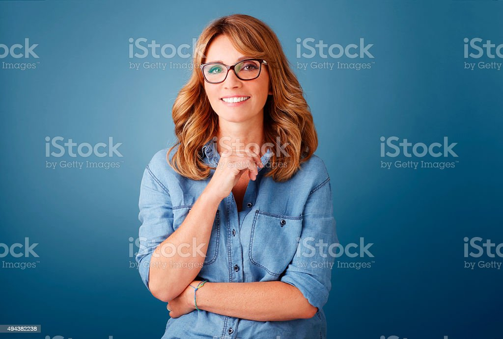 Beautiful middle age woman stock photo