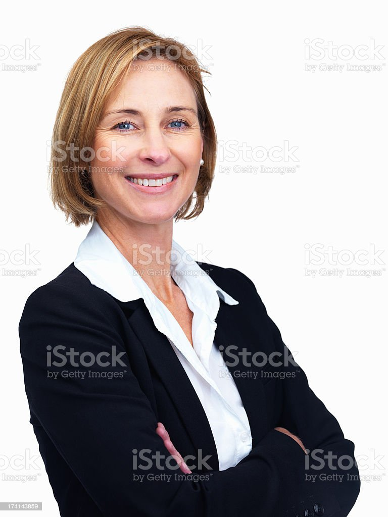 Beautiful middle aged female lawyer with hands folded stock photo