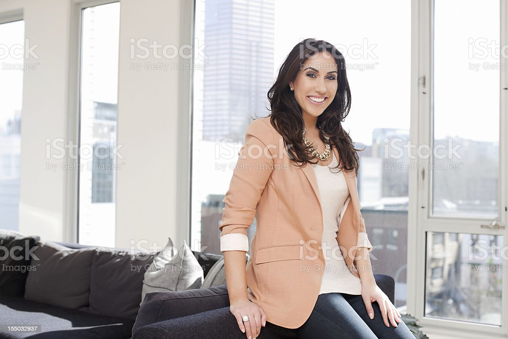 Beautiful Middle Eastern Woman Portrait in Bright Loft, Copy Space stock photo