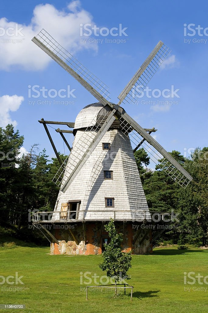 Beautiful mill in Ventspils, Latvia stock photo
