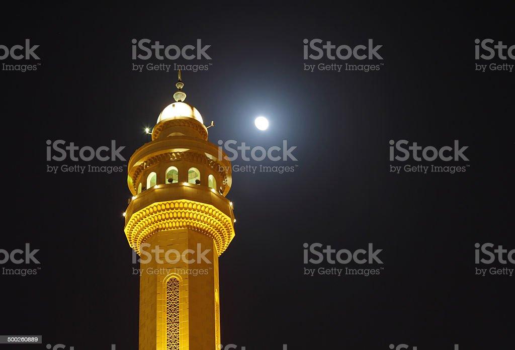 Beautiful minaret & moon Al Fateh Mosque Bahrain stock photo