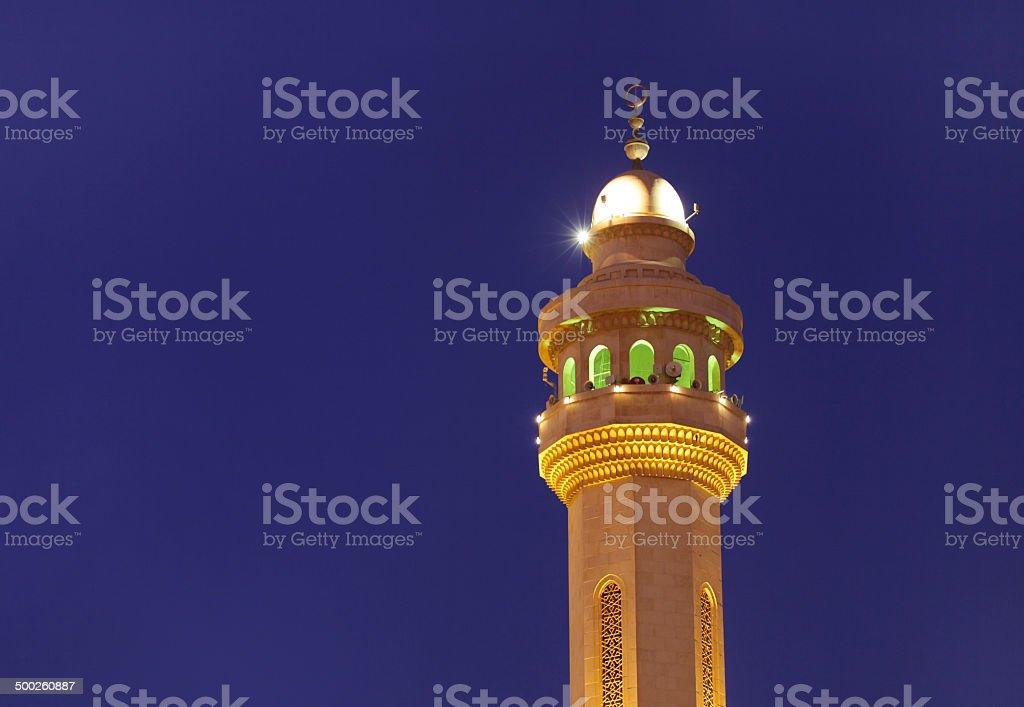 Beautiful minaret of Al Fateh Mosque at blue hours, Bahrain stock photo