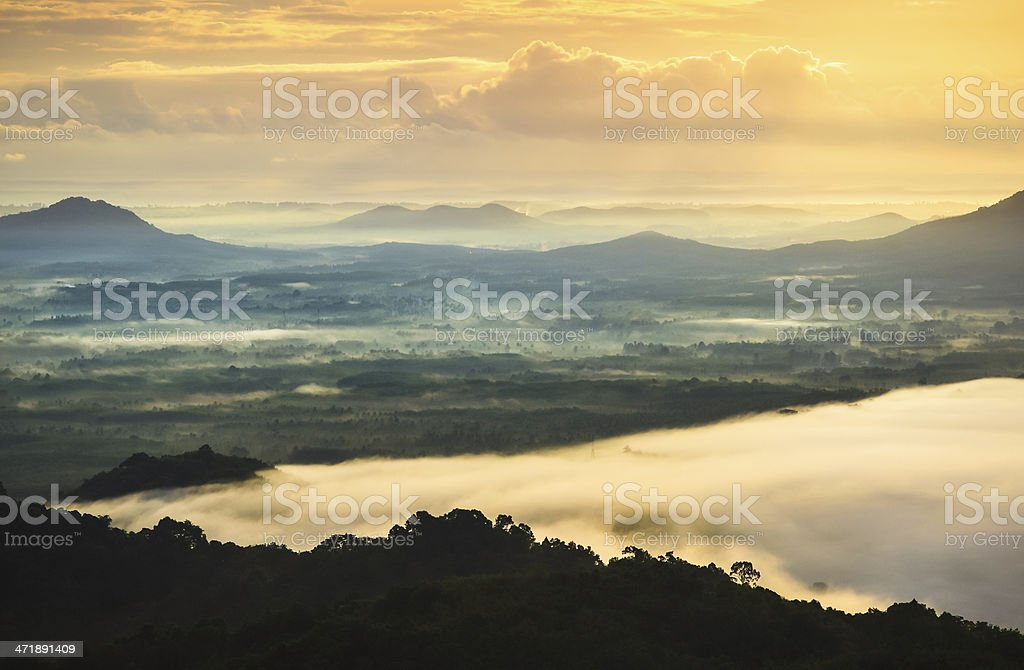 beautiful misty early morning mountains royalty-free stock photo