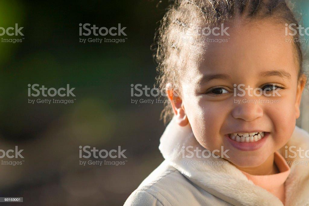 Beautiful Mixed Race African American Little Girl stock photo