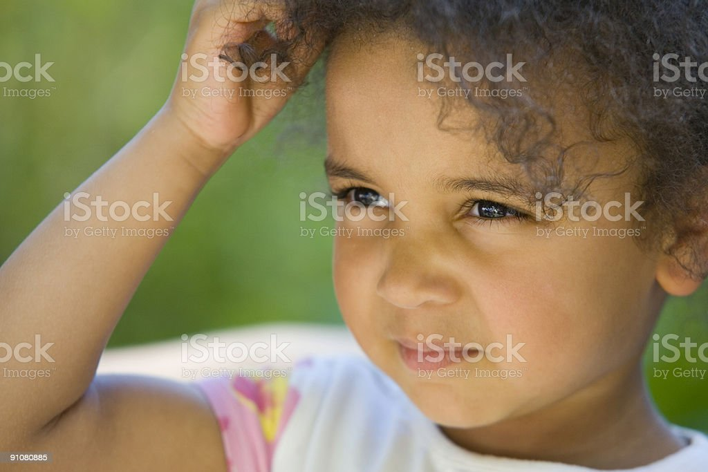 Beautiful Mixed Race African American Young Girl royalty-free stock photo
