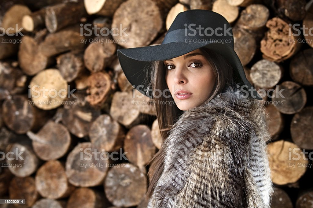 A beautiful model clothed with fur and adorned with a hat stock photo