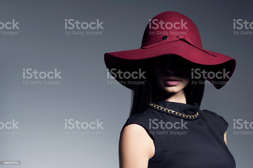 Beautiful model in a red hat stock photo