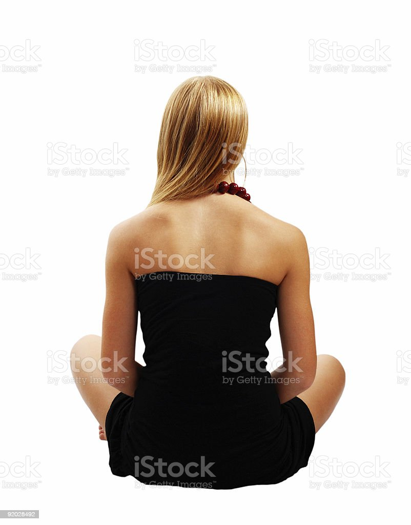 Beautiful model in black dress from back isolated royalty-free stock photo