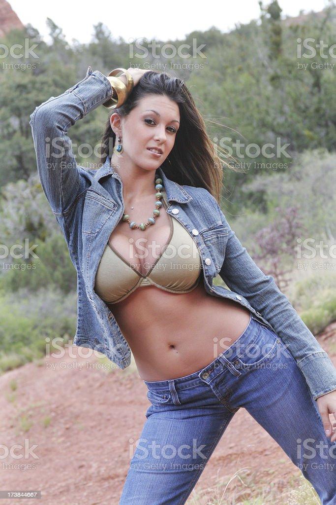Beautiful model posing wearing bikini top stock photo