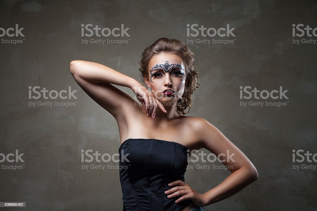 beautiful model with elegant hairstyle and make-up stock photo