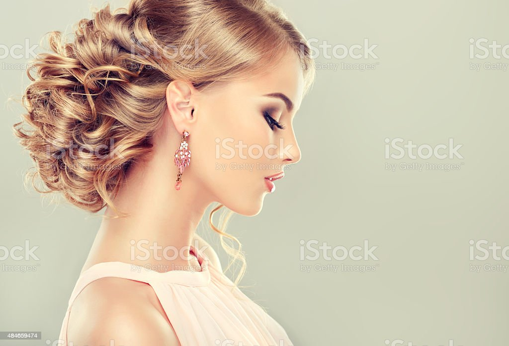 Beautiful model with  elegant hairstyle stock photo