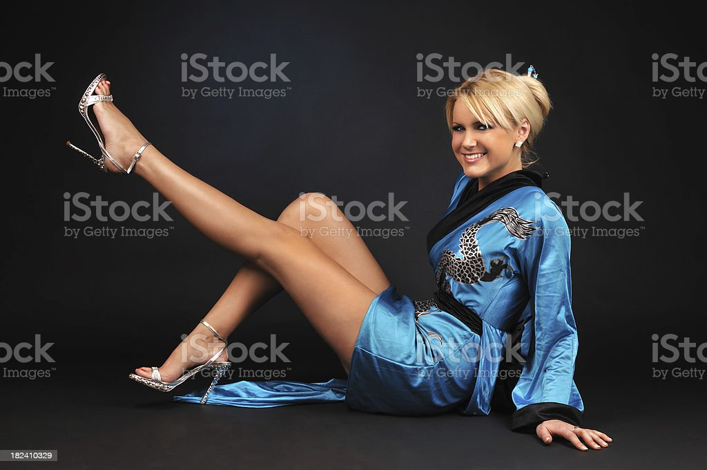 Beautiful Model With Kimono royalty-free stock photo