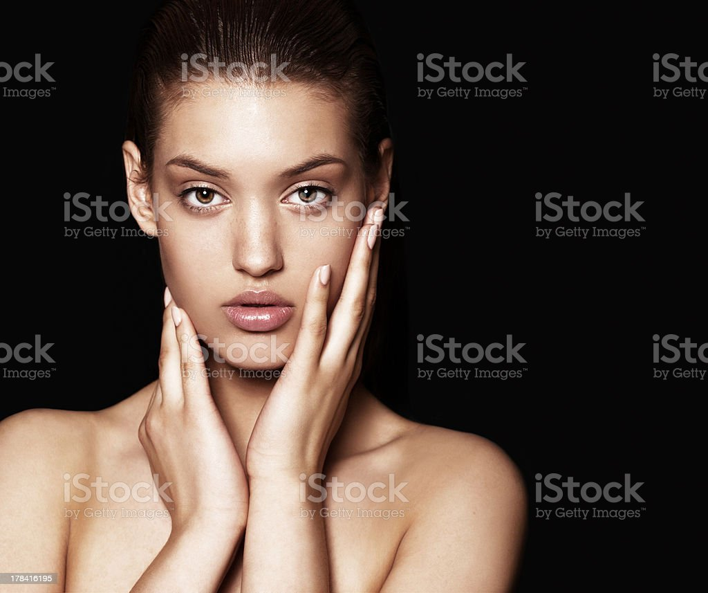beautiful model with nude make-up stock photo