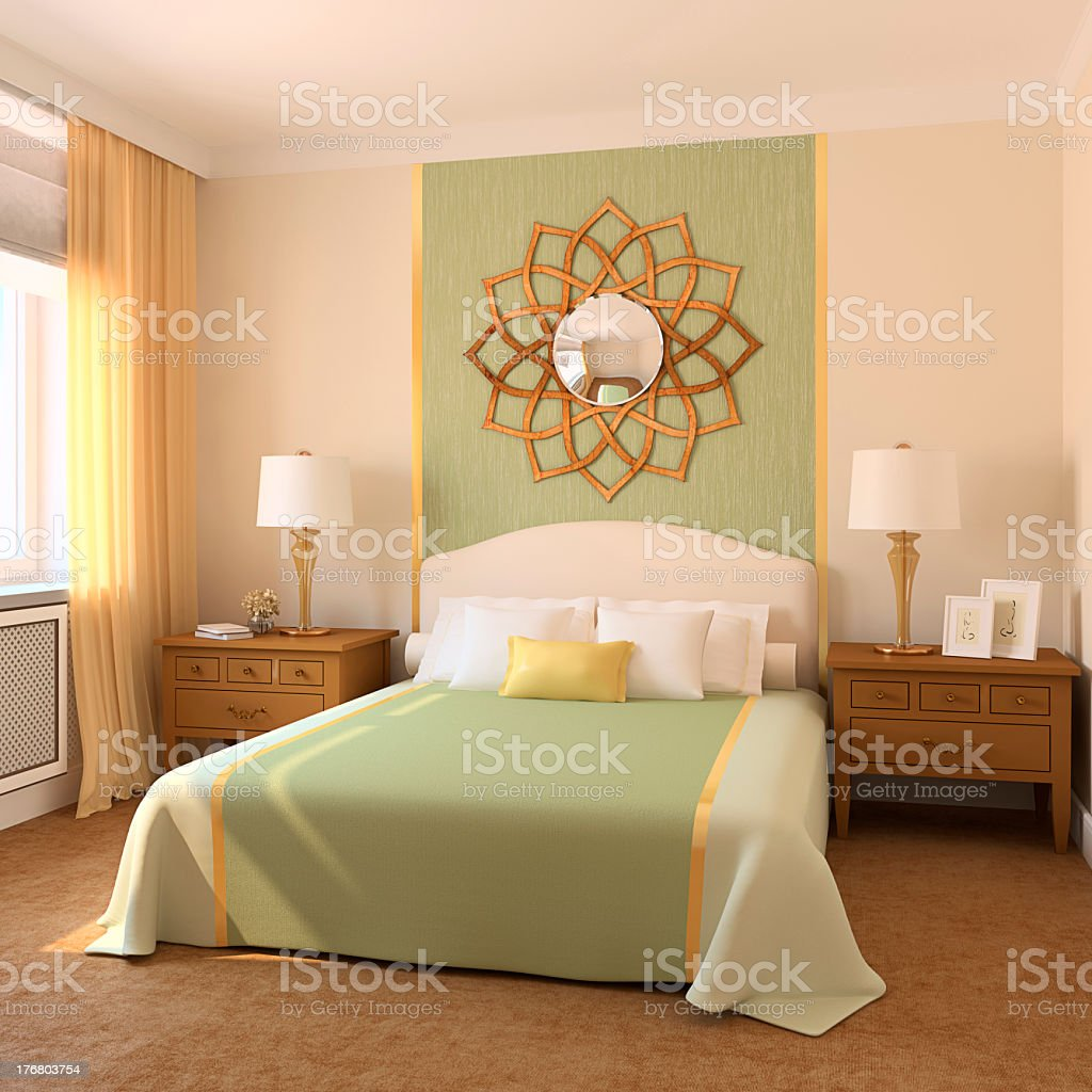 Beautiful modern adult bedroom complete set royalty-free stock photo