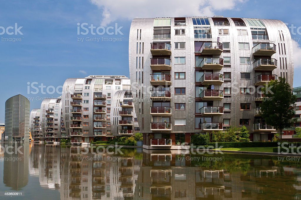 Beautiful Modern Architecture Residential Apartment Buildings stock photo