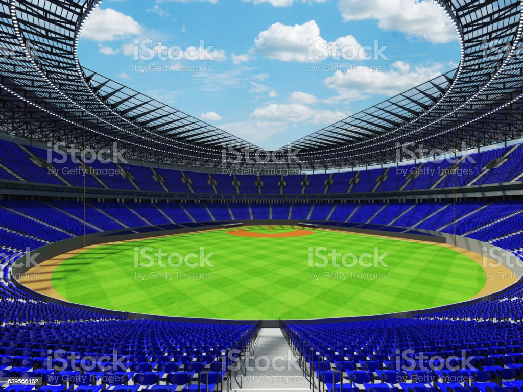 Beautiful modern baseball stadium with blue seats and VIP boxes stock photo