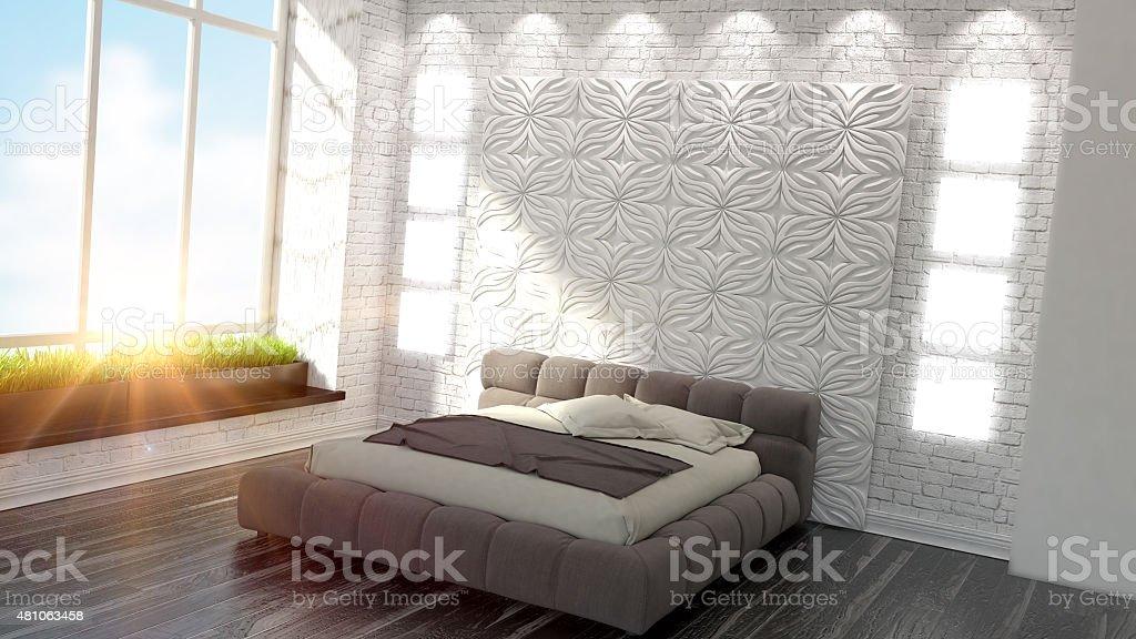Magnifique intérieur moderne d'une chambre à coucher photo libre de droits