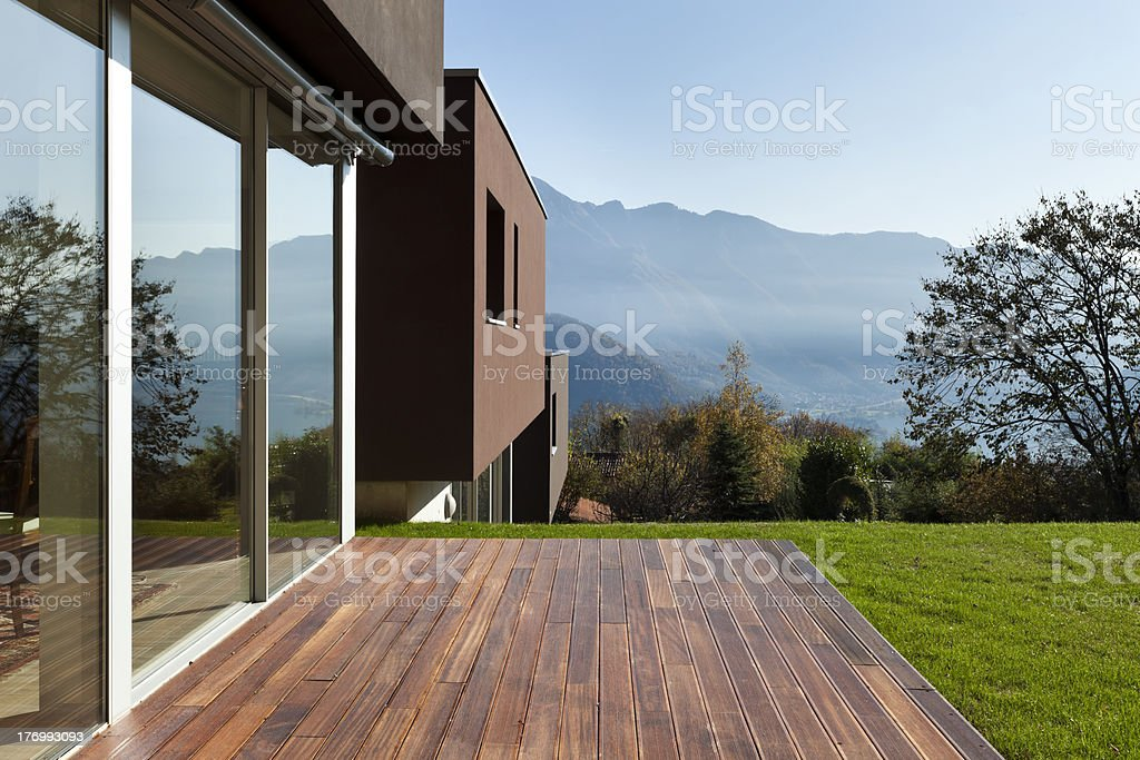 beautiful modern house with garden stock photo
