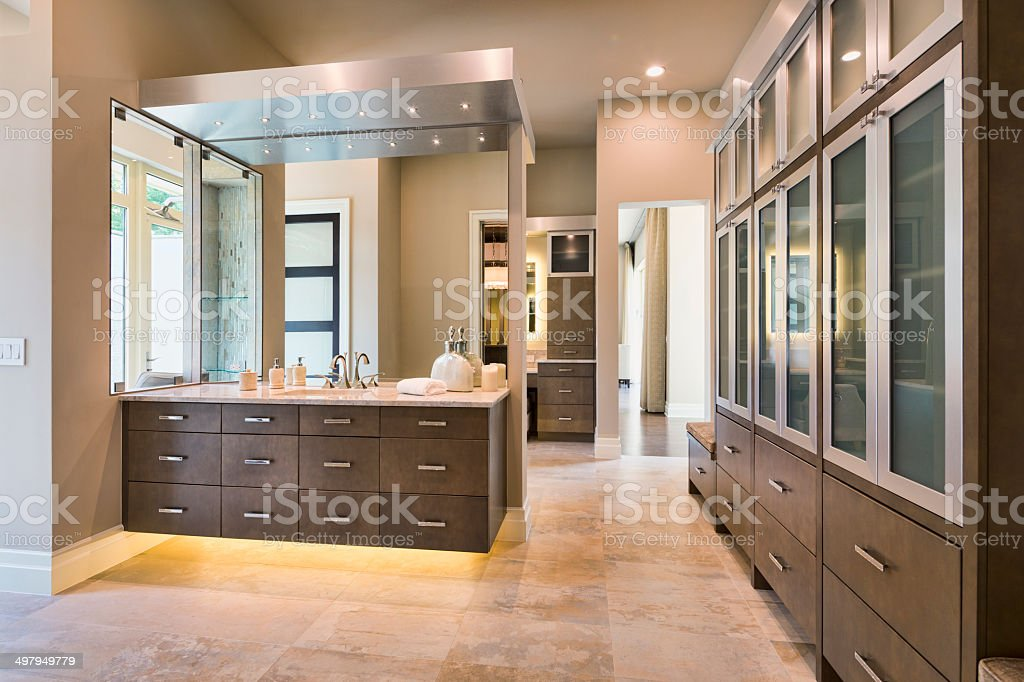 Beautiful Modern Master Bathroom stock photo