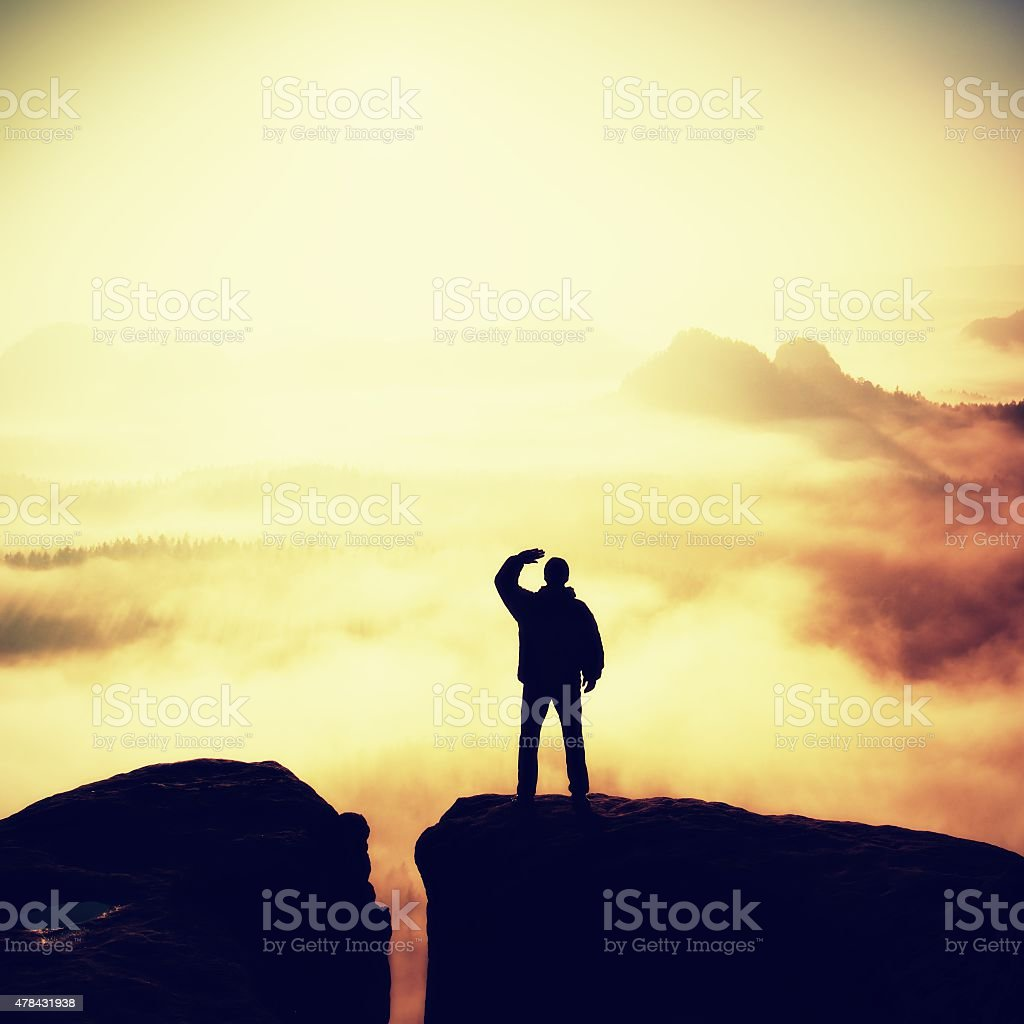 Beautiful moment the miracle of nature. Man watch  to Sun. stock photo