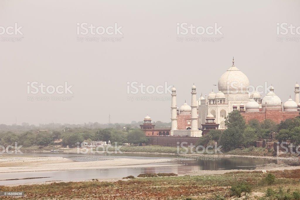 Beautiful monument Taj Mahal on bank of river Yamuna stock photo