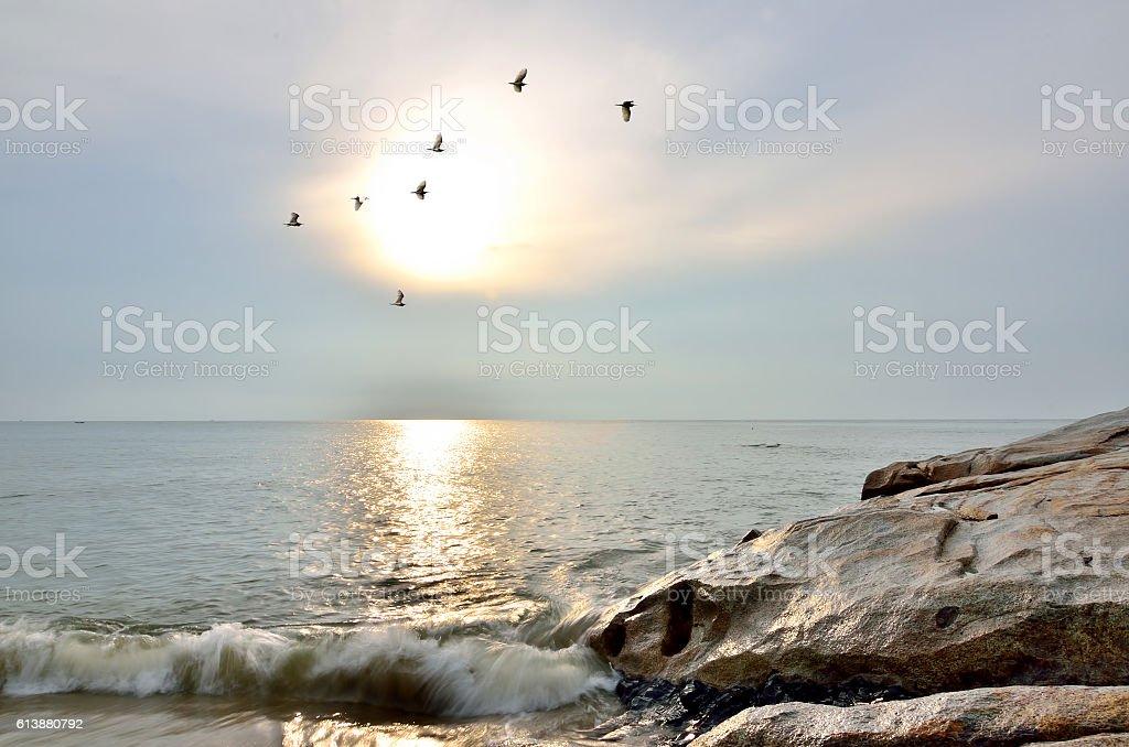 Beautiful moody sunrise at Teluk Cempedak beach, Kuantan. stock photo