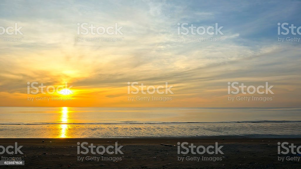 Beautiful moody sunrise near the beach stock photo