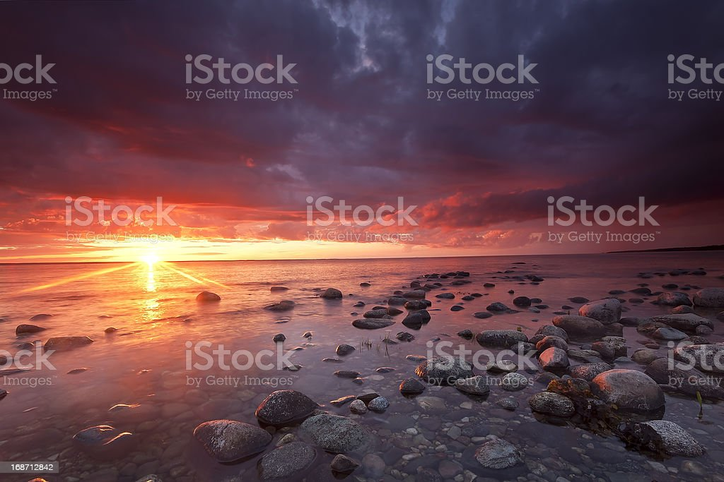 Beautiful moody sunrise with stormclouds, southern of Sweden royalty-free stock photo