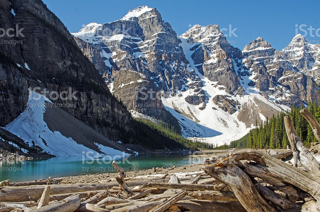 Beautiful Moraine Lake Shoreline royalty-free stock photo