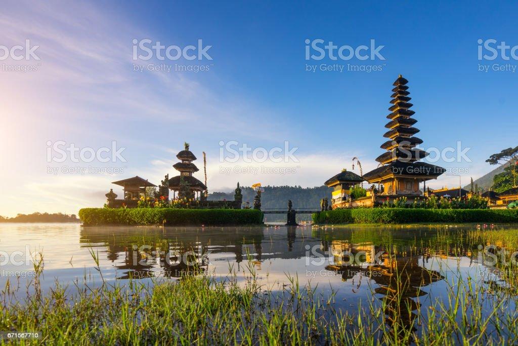 Beautiful morning at Bali lake Beratan temple - Bali, Indonesia stock photo