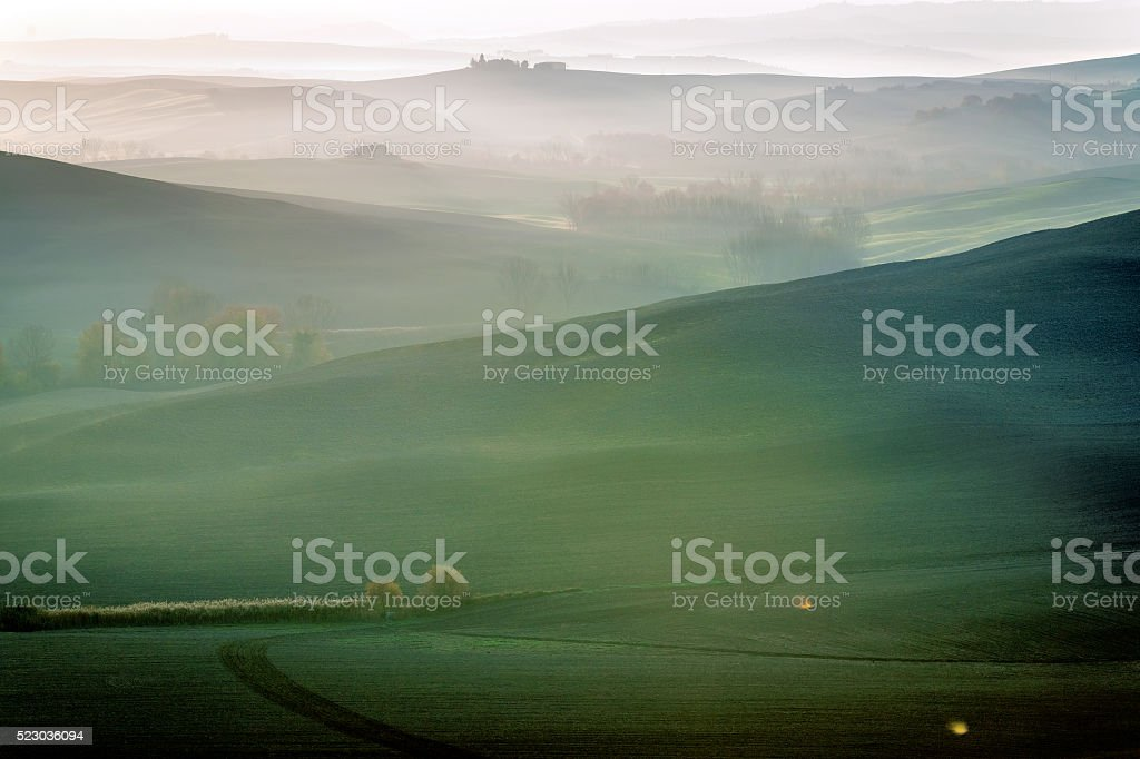 Beautiful Morning Frosty Landscape in Autumn, Tuscany, Italy stock photo