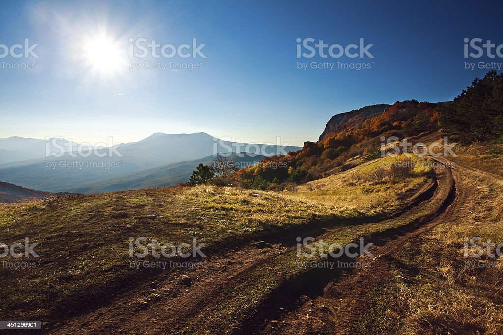 Beautiful morning landscape in the autumn mountain stock photo