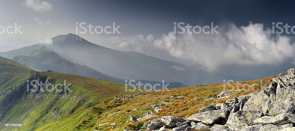 Beautiful morning landscape in the Carpathian mountains royalty-free stock photo