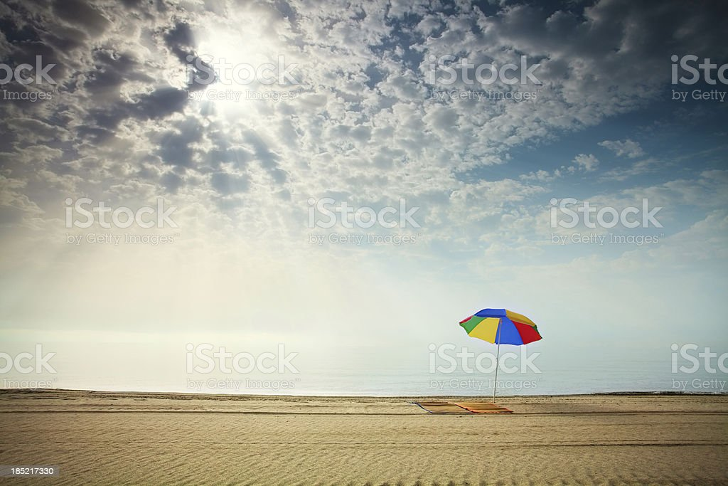 Beautiful morning on the sandy beach stock photo