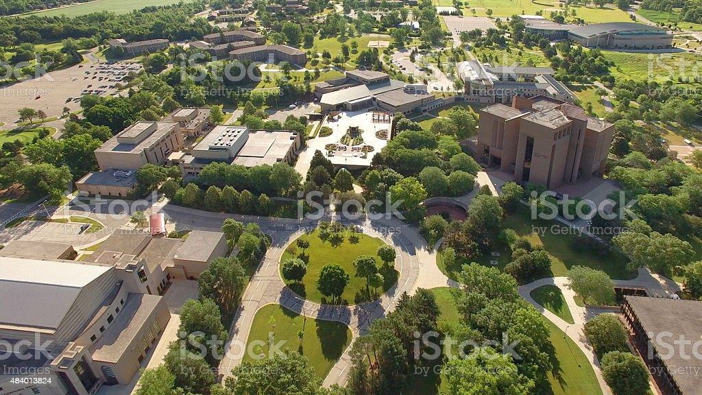 Beautiful Morning on University of Wisconsin Green Bay Campus stock photo
