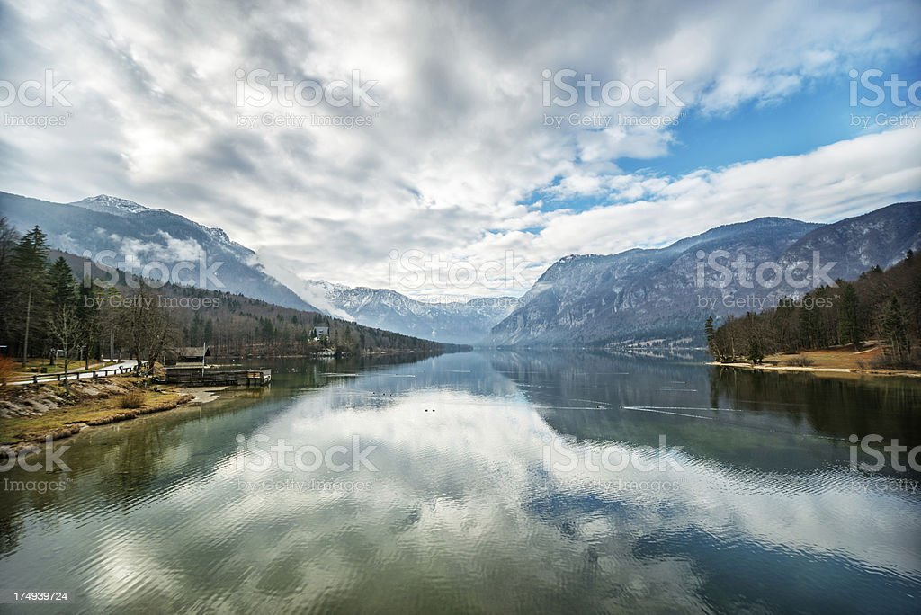 Beautiful Morning Scene on Lake Bohinj, Slovenia royalty-free stock photo