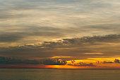 Beautiful morning sunrise in a luminous cloud.