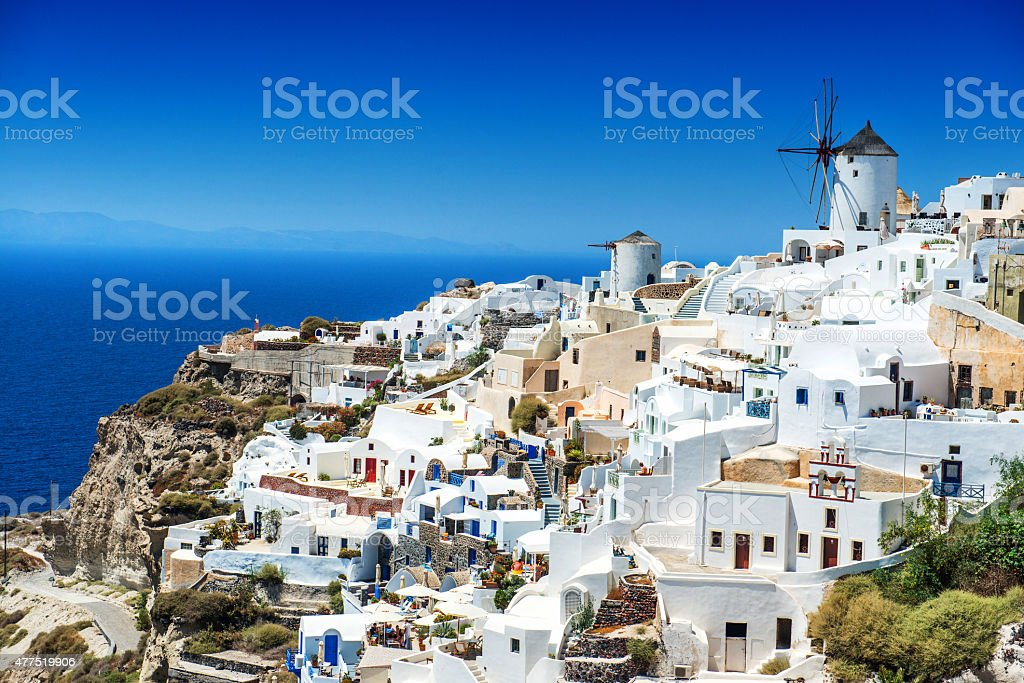 Beautiful Morning view of Oia, Santorini, Greece stock photo