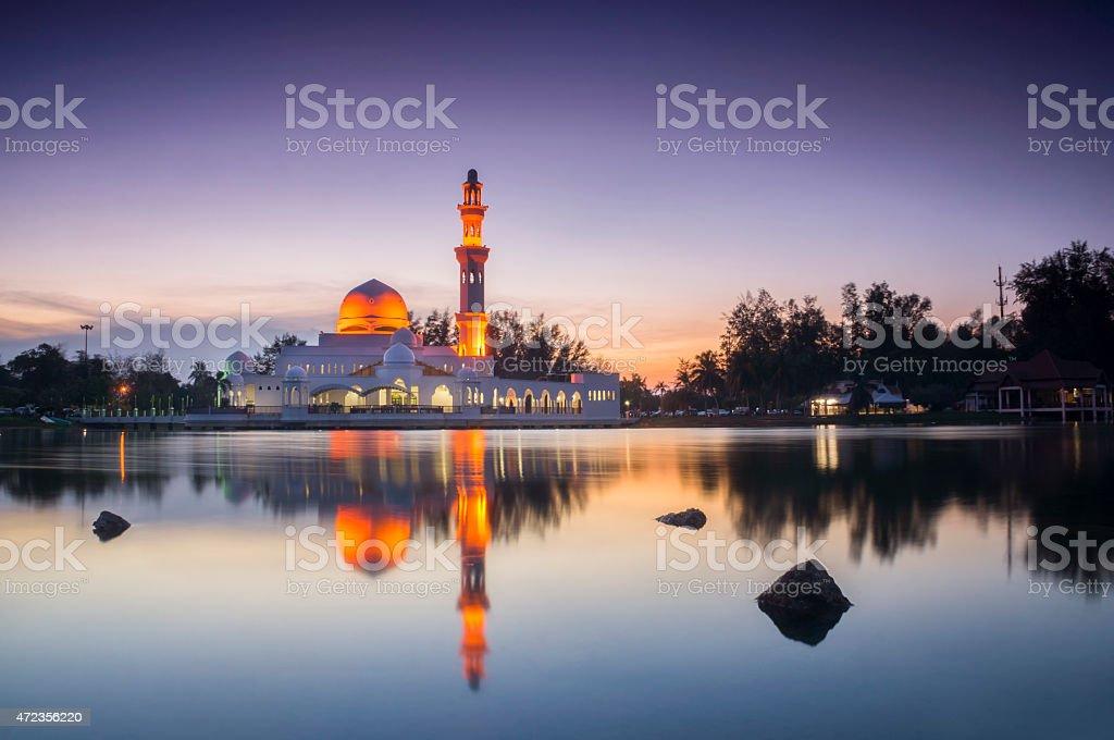 Beautiful Mosque in Glorius Sunset stock photo