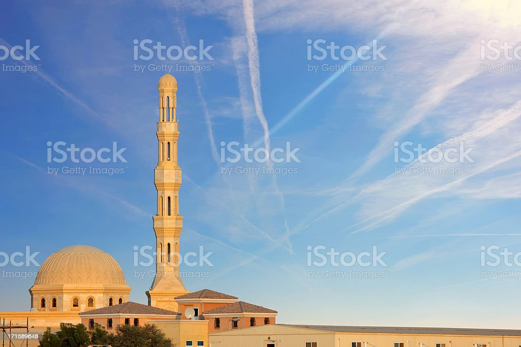 beautiful mosque on blue sky stock photo