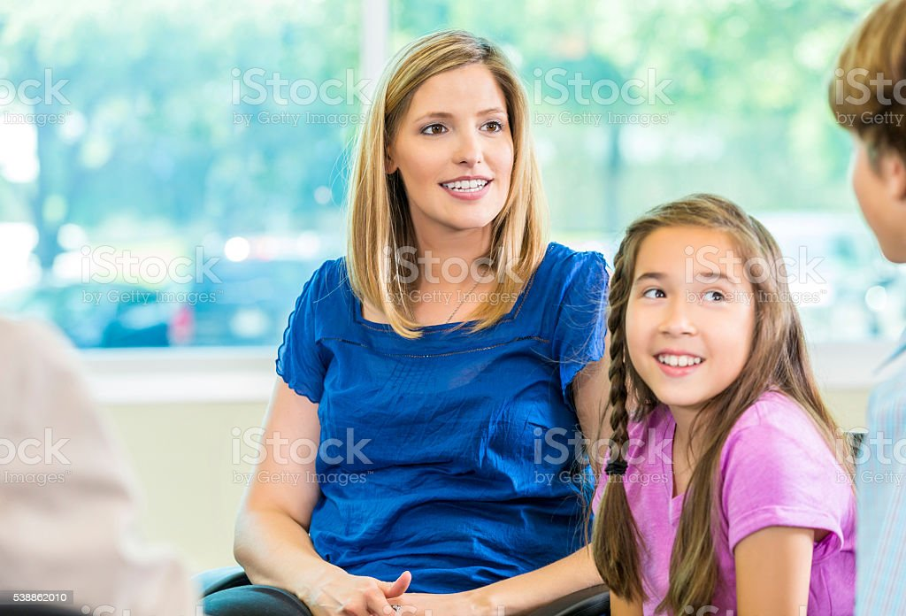 Beautiful mother and daughter stock photo