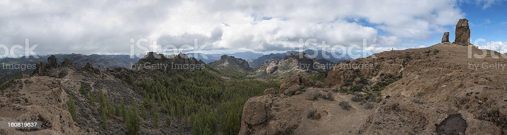 Beautiful mountain and forest scape panorama in Gran Canaria royalty-free stock photo