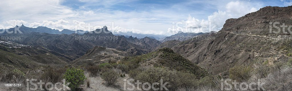 Beautiful mountain, forest and road scape panorama in Gran Canaria royalty-free stock photo
