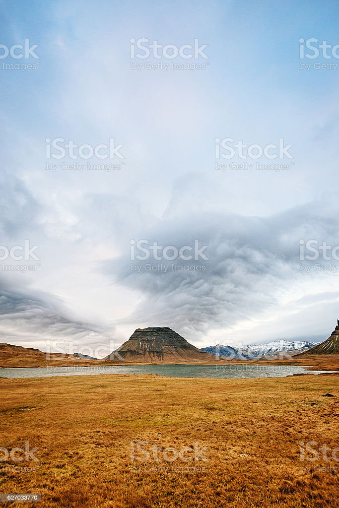Beautiful mountain Kirkjufell in Northern Iceland stock photo