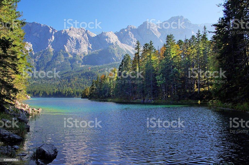 Beautiful mountain lake Eibsee in german Alps royalty-free stock photo