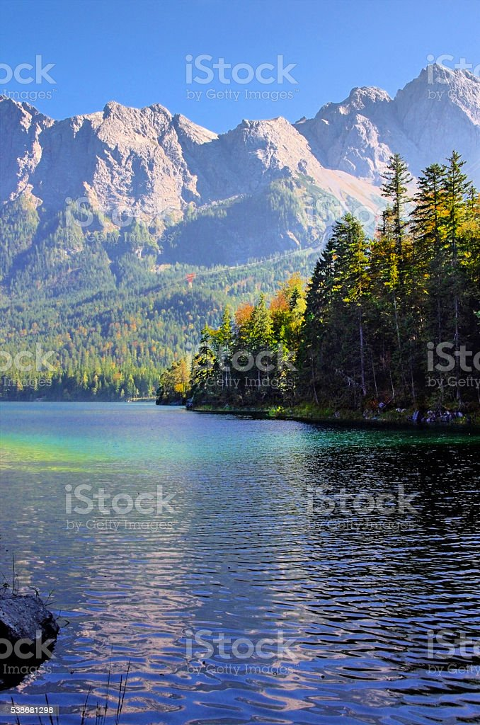 Beautiful mountain lake Eibsee in german Alps royalty-free stock photo